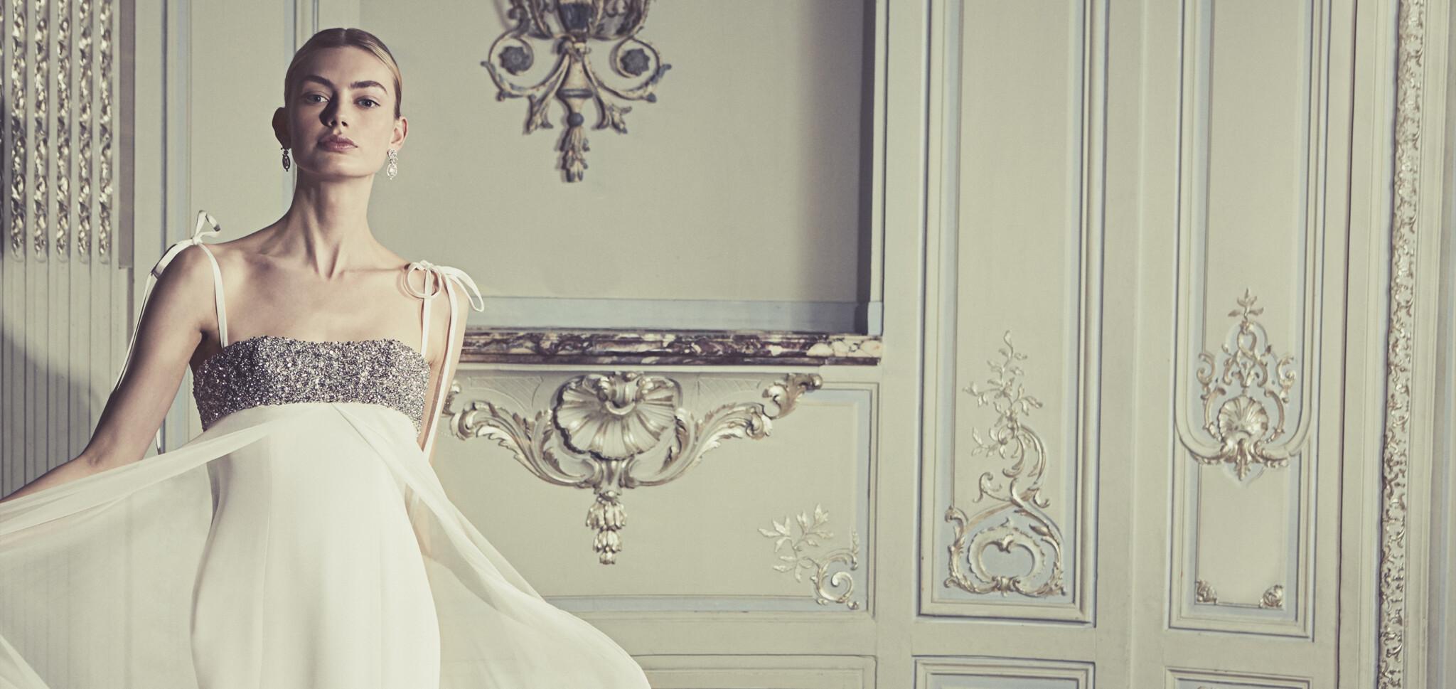 Phillipa-Lepley-Couture-Wedding-Dress-London-UK-Designer-Bespoke-Couture-Claudette-Rocks-Chiffon-Split-Soft-Skirt-Empire-Line-Wedding-Gown B