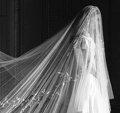 Phillipa Lepley Embroidered Veil Silk Duchess Satin Wedding Dress off the Shoulder
